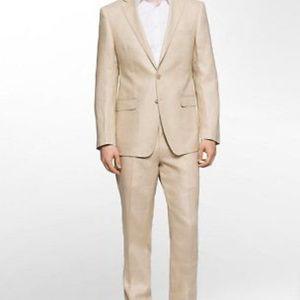 Calvin Klein Linen Flat Front Suit Men's 42 L X 38